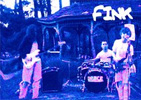 Slightly warped blue tinted photo of Fink playing instruments